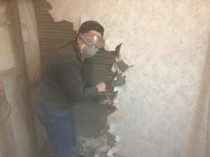 Bathroom - me killing the plaster