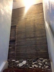 Bathroom outside wall stripped