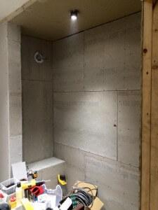 Bathroom - shower has walls
