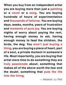 When buying from an artist - Rebekah Joy Plett